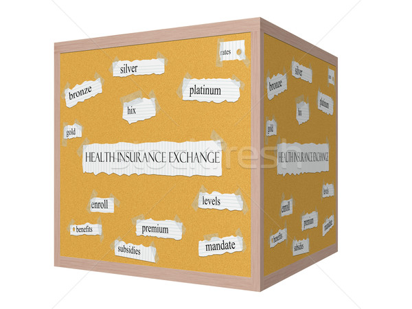 Health Insurance Exchange 3D cube Corkboard Word Concept Stock photo © mybaitshop