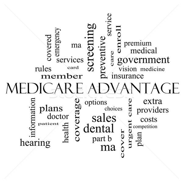 Medicare Advantage Word Cloud Concept in black and white Stock photo © mybaitshop