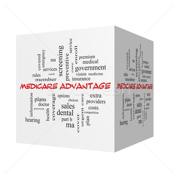 Stock photo: Medicare Advantage 3D Word Cloud Concept in red caps