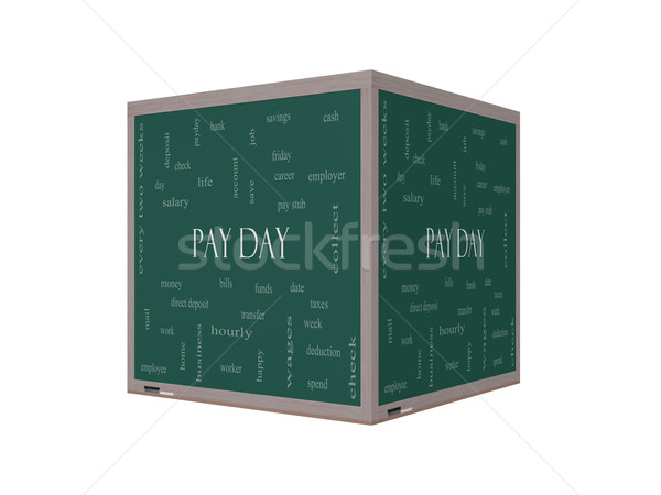 Pay Day Word Cloud Concept on a 3D Blackboard Stock photo © mybaitshop