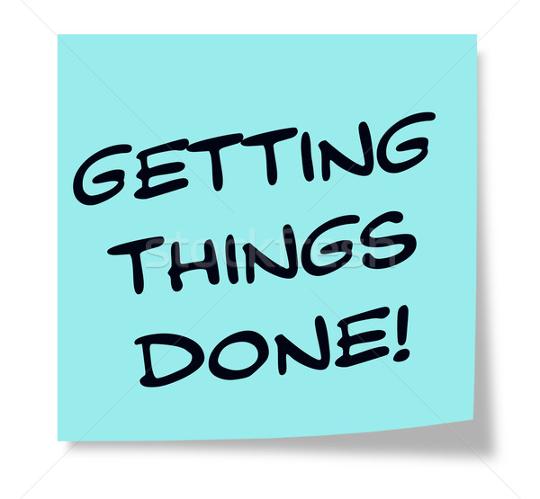 Getting Things Done written on a blue sticky note Stock photo © mybaitshop