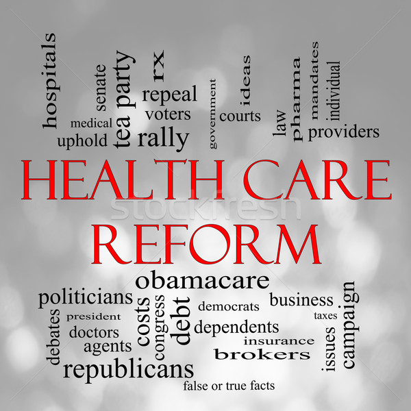 Bokeh Health Care Reform Word Cloud Stock photo © mybaitshop