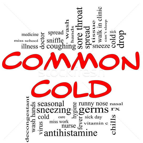 Common Cold Word Cloud Concept in red & black Stock photo © mybaitshop
