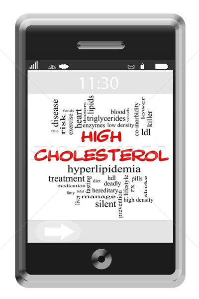 High Cholesterol Word Cloud Concept on Touchscreen Phone Stock photo © mybaitshop