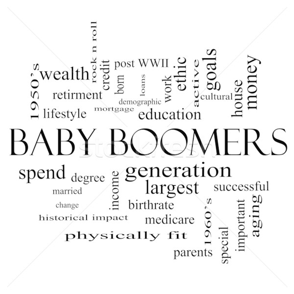 Baby Boomers Word Cloud Concept in black and white Stock photo © mybaitshop