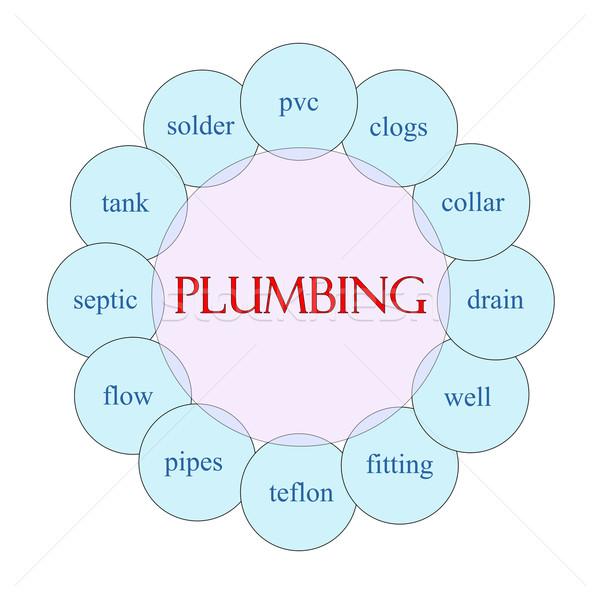 Sanitair woord diagram roze Blauw Stockfoto © mybaitshop