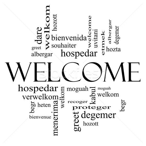 Benvenuto estero lingua word cloud bianco nero Foto d'archivio © mybaitshop