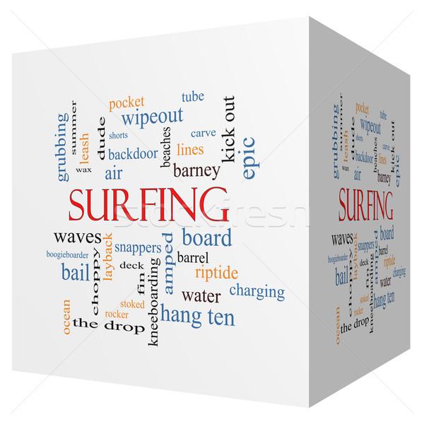 Surfen 3D kubus woordwolk groot zomer Stockfoto © mybaitshop