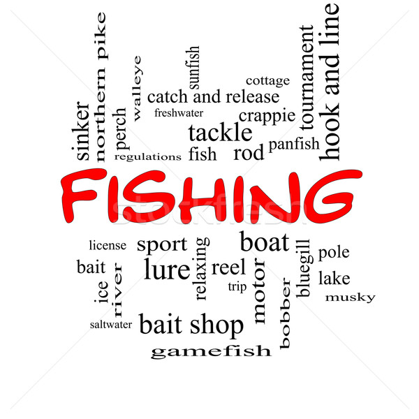 Fishing Word Cloud Concept in red caps Stock photo © mybaitshop