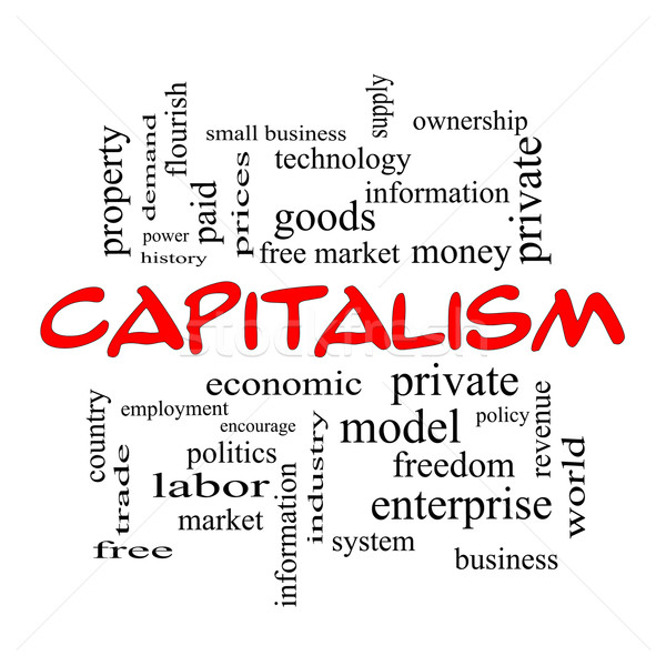 Capitalism Word Cloud Concept in red caps Stock photo © mybaitshop