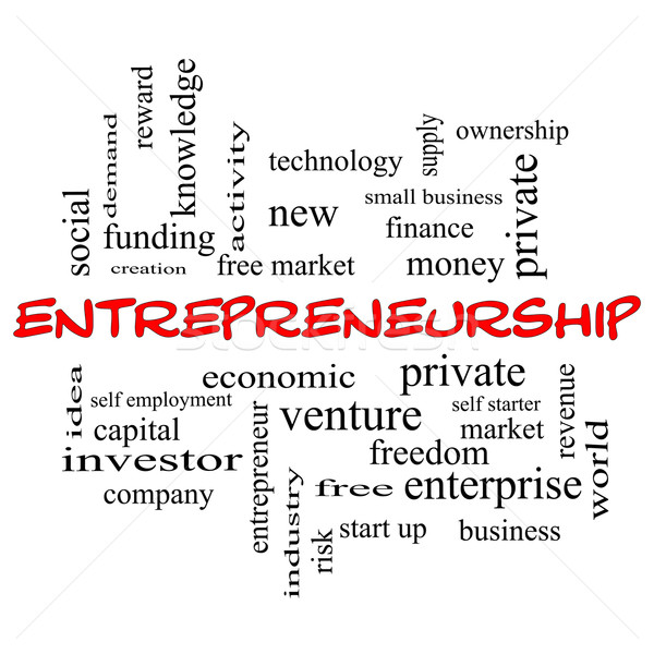 Entrepreneurship Word Cloud Concept in red caps Stock photo © mybaitshop