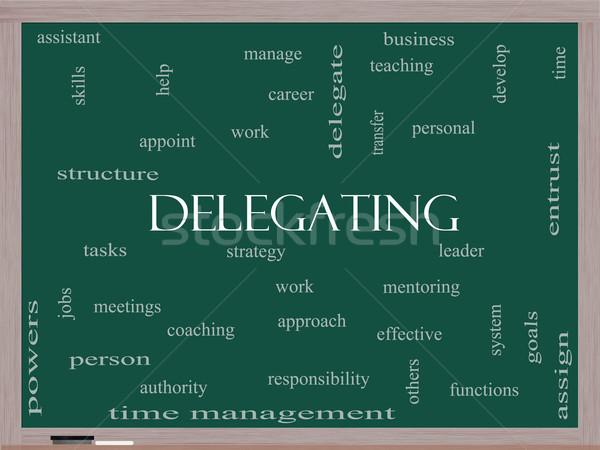 Delegating Word Cloud Concept on a Blackboard Stock photo © mybaitshop