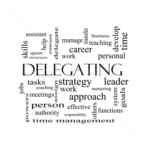 Delegating Word Cloud Concept in black and white Stock photo © mybaitshop