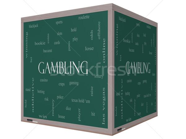 ギャンブル 言葉の雲 3D キューブ 黒板 ストックフォト © mybaitshop