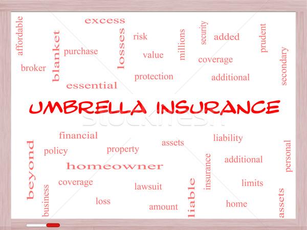 Umbrella Insurance Word Cloud Concept on a Whiteboard Stock photo © mybaitshop