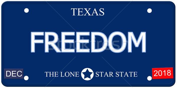 свободу Техас имитация номерной знак поддельный слово Сток-фото © mybaitshop