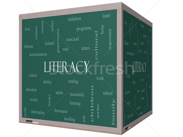 Műveltség szófelhő 3D kocka iskolatábla nagyszerű Stock fotó © mybaitshop
