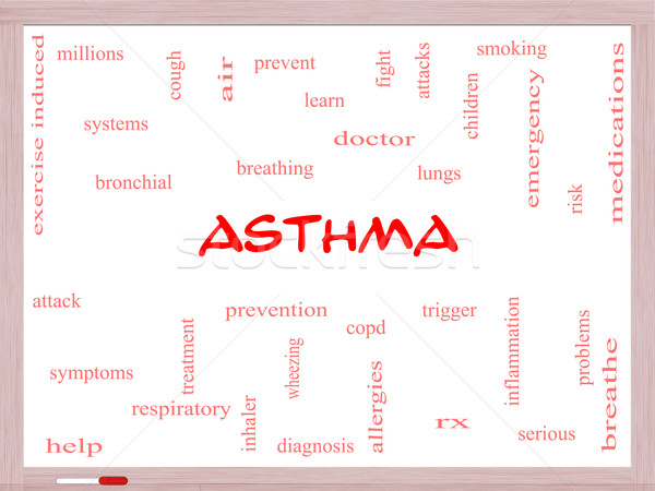Asthma Word Cloud Concept on a Whiteboard Stock photo © mybaitshop