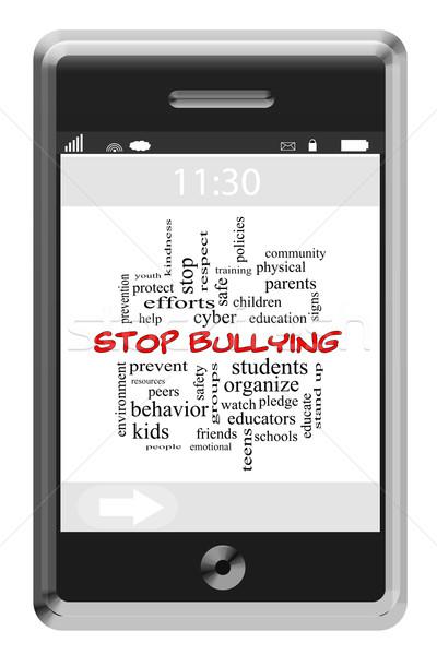 Stop megfélemlítés szófelhő érintőképernyő telefon nagyszerű Stock fotó © mybaitshop