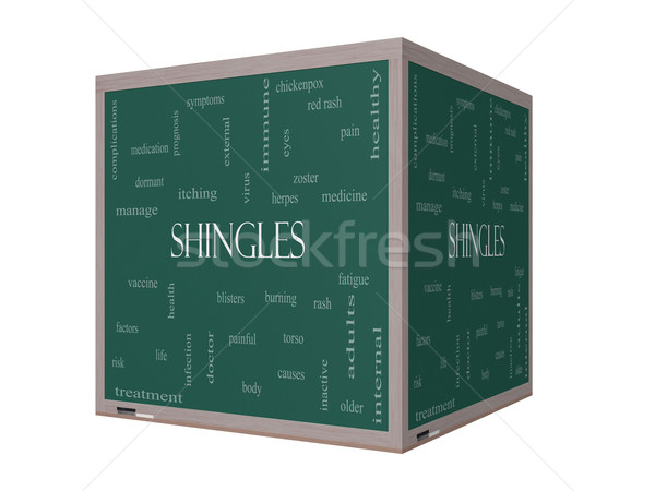 Shingles Word Cloud Concept on a 3D cube Blackboard Stock photo © mybaitshop