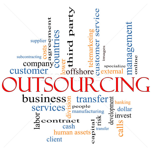 Outsourcing word cloud concept Stock photo © mybaitshop
