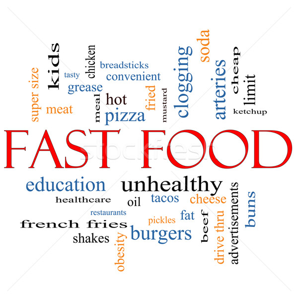 Fast food word cloud grasso grasso Foto d'archivio © mybaitshop