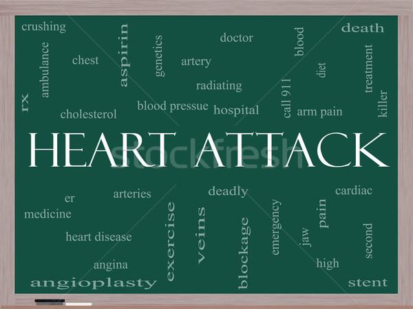 Hartaanval woordwolk Blackboard groot hartziekte rx Stockfoto © mybaitshop