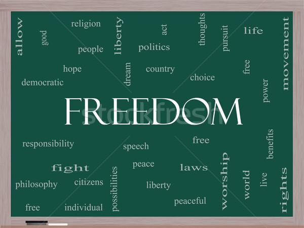 Freedom Word Cloud Concept on a Blackboard Stock photo © mybaitshop