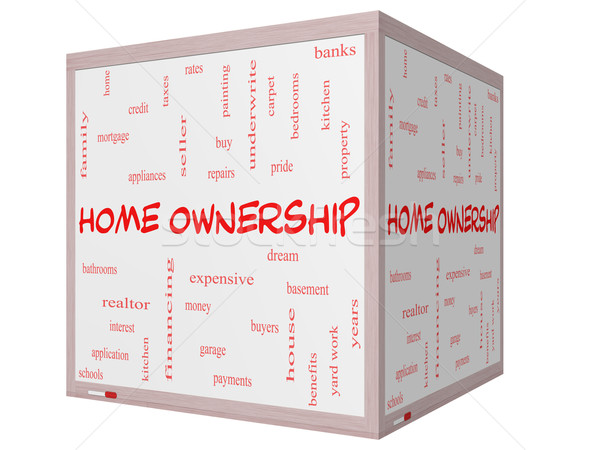 Home Ownership Word Cloud Concept on a 3D Cube Whiteboard Stock photo © mybaitshop