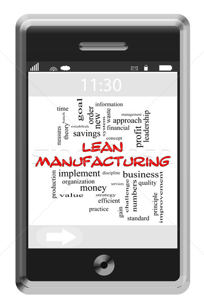 Lean Manufacturing Word Cloud Concept on Touchscreen Phone Stock photo © mybaitshop