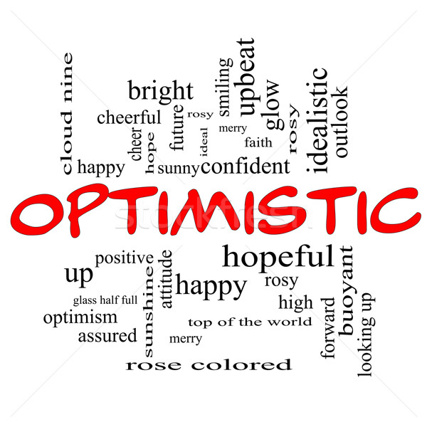 Optimistic Word Cloud Concept in red caps Stock photo © mybaitshop