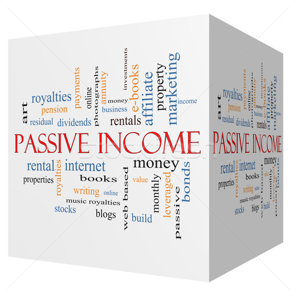 Passive Income 3D cube Word Cloud Concept Stock photo © mybaitshop
