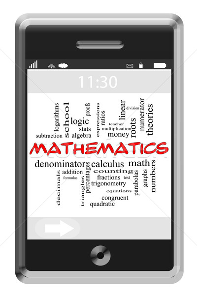 Mathematics Word Cloud Concept on Touchscreen Phone Stock photo © mybaitshop