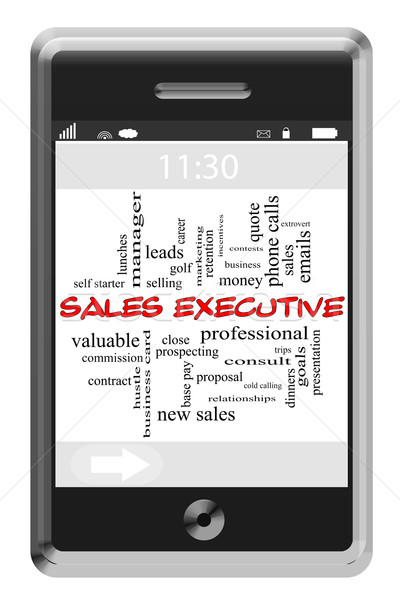 Sales Executive Word Cloud Concept on Touchscreen Phone Stock photo © mybaitshop