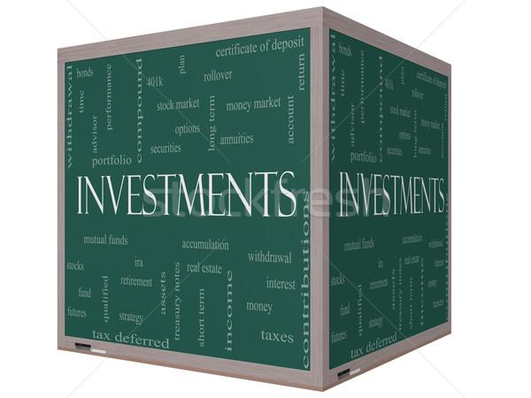 Investissements nuage de mots 3D cube tableau noir magnifique Photo stock © mybaitshop