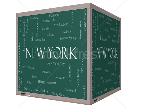 New York State Word Cloud Concept on a 3D Cube Blackboard Stock photo © mybaitshop