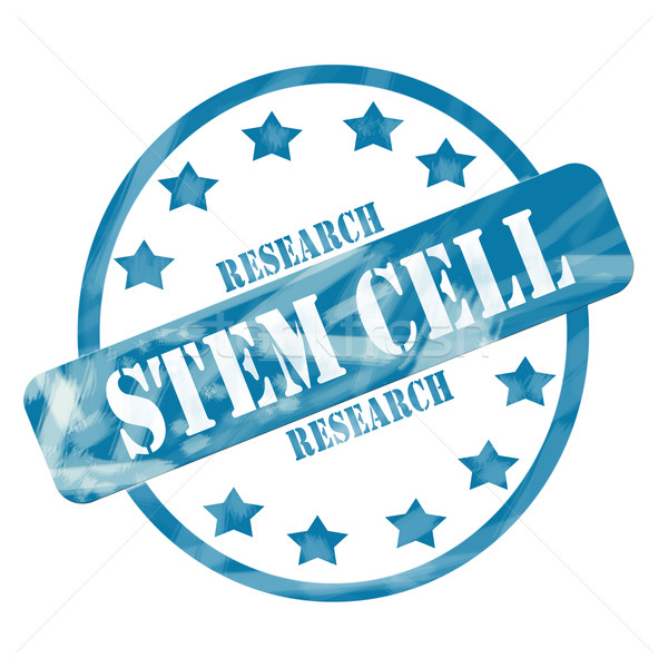 Blue Weathered Stem Cell Research Stamp Circle and Stars Stock photo © mybaitshop