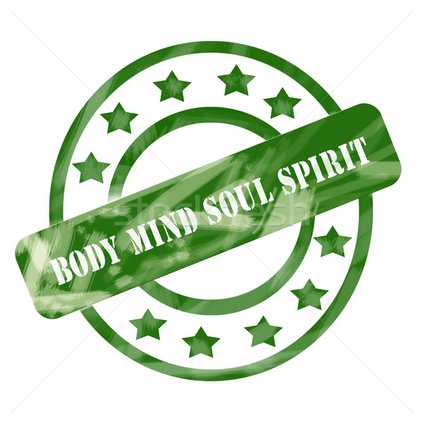 Green Weathered Body Mind Soul Spirit Stamp Circles and Stars Stock photo © mybaitshop