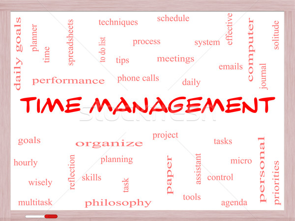 Time Management Word Cloud Concept on a Whiteboard Stock photo © mybaitshop