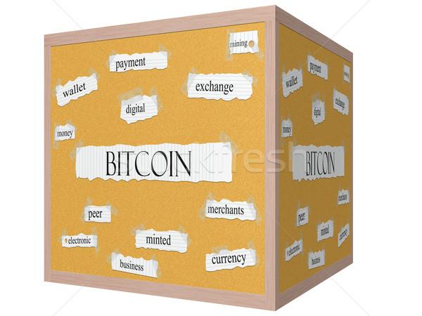 Bitcoin 3D cube Corkboard Word Concept Stock photo © mybaitshop