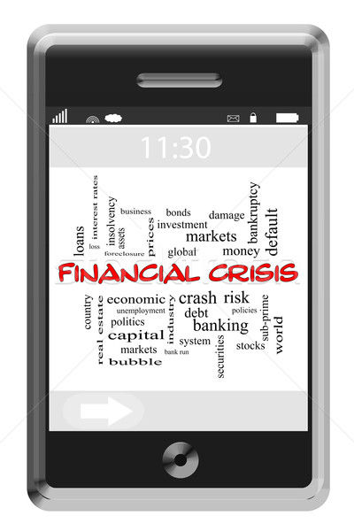 Financial Crisis Word Cloud Concept on Touchscreen Phone Stock photo © mybaitshop