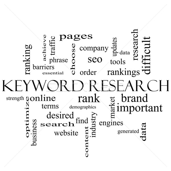 Keyword Research Word Cloud Concept in black and white Stock photo © mybaitshop