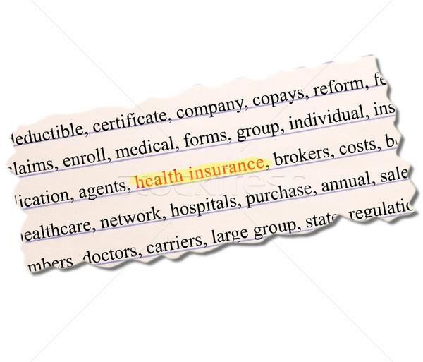 Seguro de saúde papel palavra médico grupo Foto stock © mybaitshop