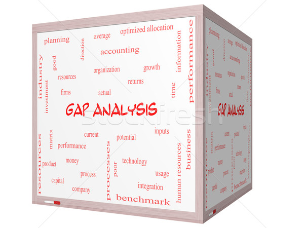 Stock photo: Gap Analysis Word Cloud Concept on a 3D cube Whiteboard