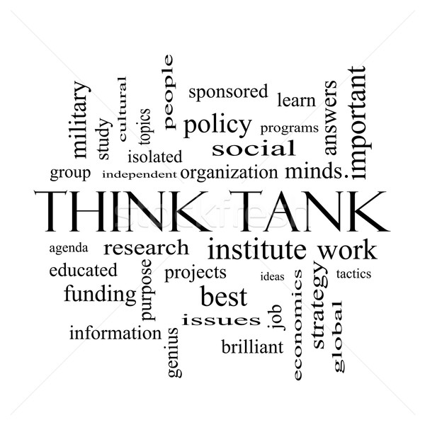 Think Tank Word Cloud Concept in black and white Stock photo © mybaitshop