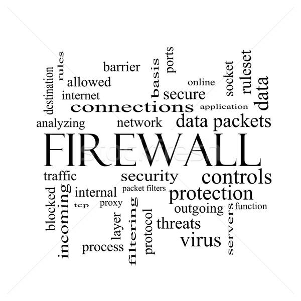 Firewall Word Cloud Concept in black and white Stock photo © mybaitshop