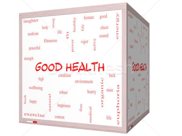 Good Health Word Cloud Concept on a 3D cube Whiteboard Stock photo © mybaitshop