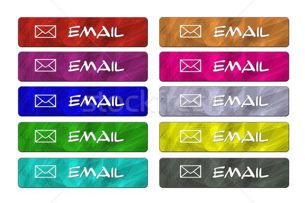 десять электронная почта конверт Кнопки разнообразие цветами Сток-фото © mybaitshop