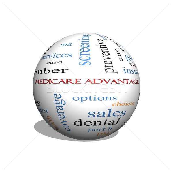 Medicate előny 3D gömb szófelhő nagyszerű Stock fotó © mybaitshop