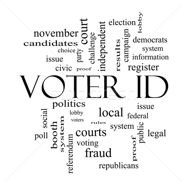 Voter ID Word Cloud Concept in black and white Stock photo © mybaitshop